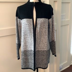 Chico's long & soft color block sweater jacket